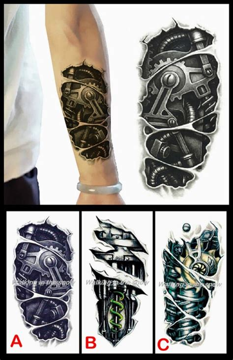 styles   waterproof robot arm tattoo stickers