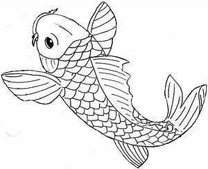 Drawn koi carp basic - Pencil and in color drawn koi carp ...