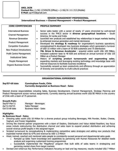 International Sales Manager Cv Exle by International Sales Cv Format International Sales Resume
