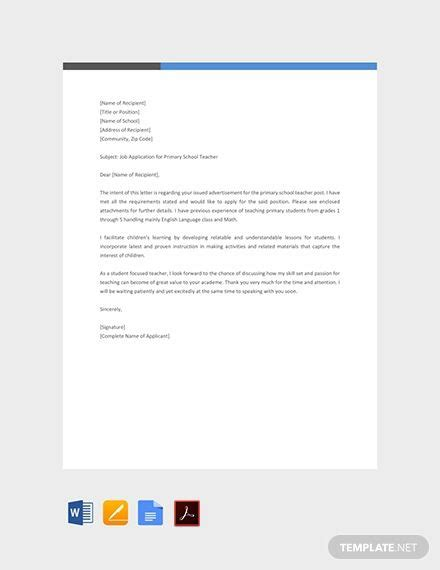 primary school teacher job application letter
