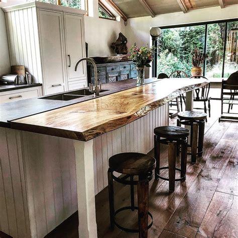 beautifully figured  edge oak breakfast bar rustic