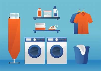 Laundry Vector Ironing Washing Machine Board Dry