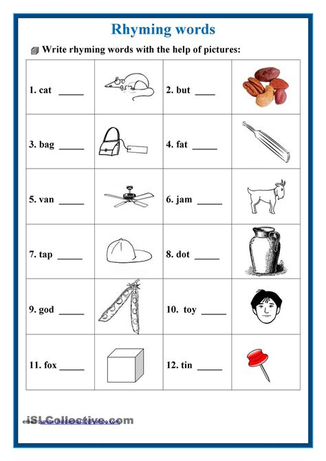 rhyming words worksheets for second grade rhyming words