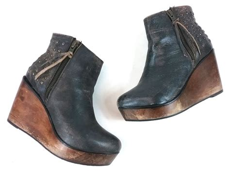 Bed Stu Ghent by Bed Stu Womens Ghent Ankle Wedge Bootie Black Size 7 5