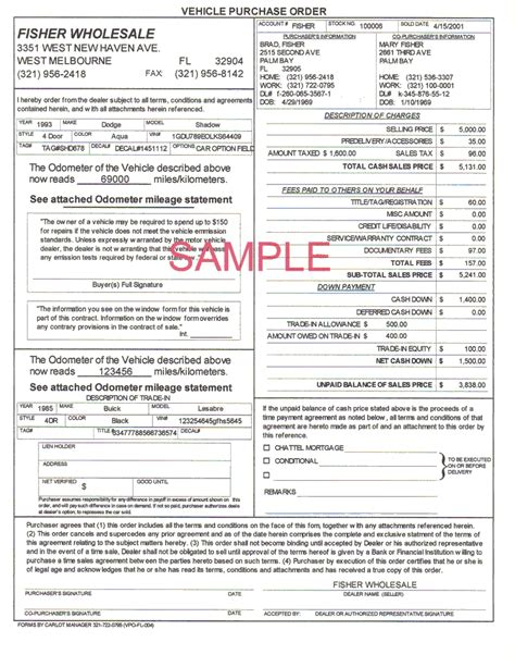 vehicle buyers order form automobile software for successfull car business