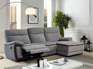 Canape Angle Tissu : canap d 39 angle relax lectrique en tissu gris provo ~ Teatrodelosmanantiales.com Idées de Décoration