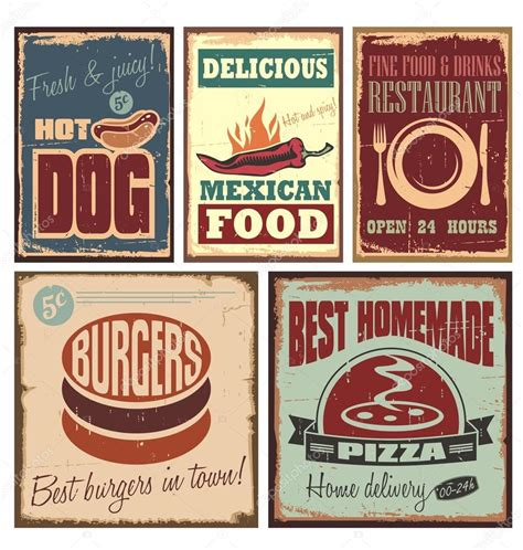 affiche cuisine vintage vintage style tin signs and retro posters stock vector