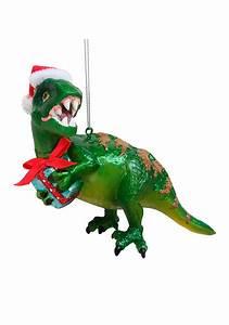 Glass Green Dinosaur Christmas Ornament