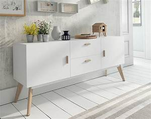 Contemporary White Sideboard with Oak Legs and Handles 2 ...