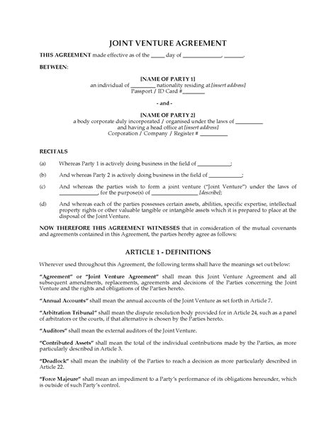 international joint venture agreement legal forms