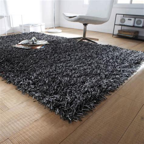 d 233 coration de la maison tapis shaggy noir pas cher