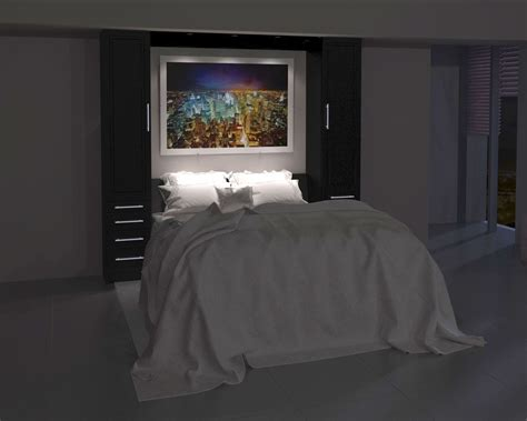 inline murphy bed with hutches and inline sofa wall bed