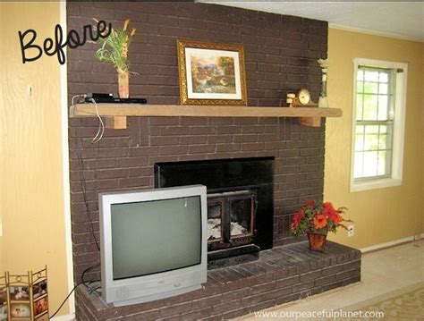 Easy Brick Fireplace Makeover - how to do an easy inexpensive dramatic fireplace