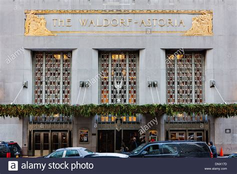 waldorf astoria hotel entry has deco motifs new york city stock photo royalty free image