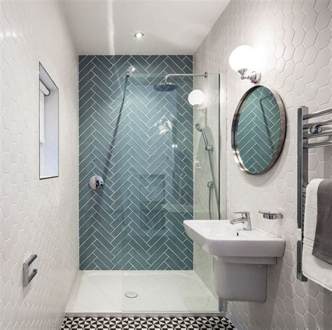 small bathroom design with seamless shower