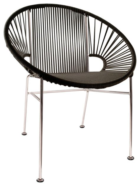 concha vinyl cord chair with chrome frame contemporary