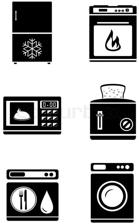 Set black silhouette isolated home appliances icons