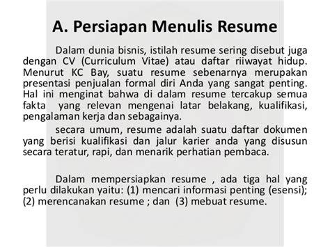 resume lamaran kerja