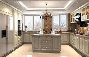 3D design kitchen suspended ceiling and windows