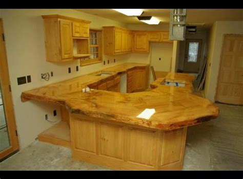 Rustic Wooden Countertop made of logs   Ranch House Ideas