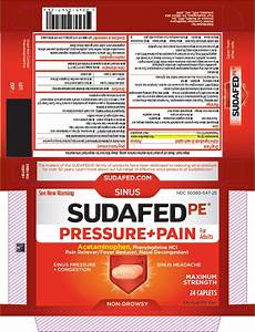 Sudafed Pe Pressure Plus Pain  Tablet  Film Coated  Johnson  U0026 Johnson Consumer Inc   Mcneil