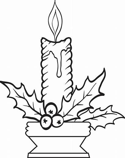 Coloring Candle Candles Christmas Pages Printable Drawing