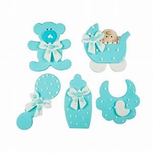 Set 5 figuritas bebé azul de azúcar - Decora