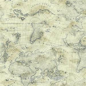 Nautical Blue World Map on Cream Sure Strip Wallpaper ...