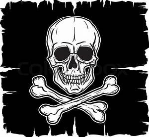 Skull And Crossbones Over Black Flag  Vector Illustration
