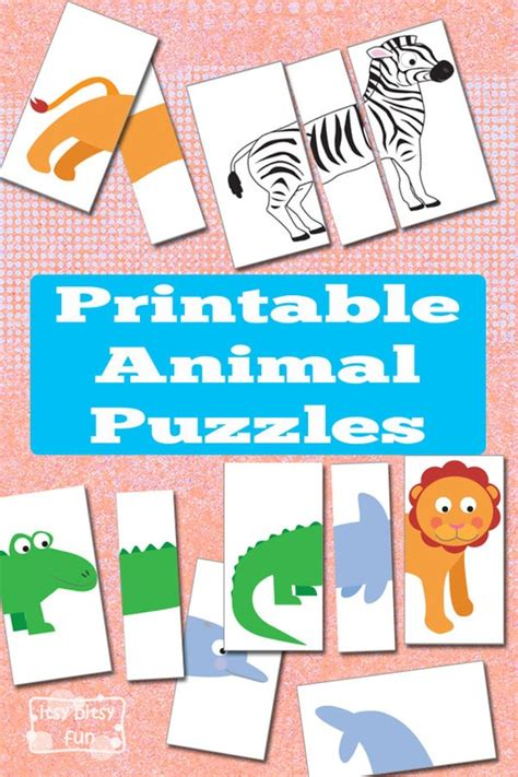 printable animal puzzles busy bag itsybitsyfuncom