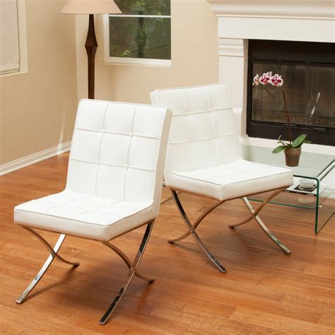 christopher chairs overstock christopher home milania white leather dining