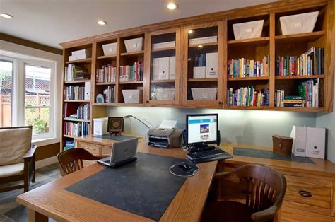 Craftsman Home Office With Open Shelving Storage 50770