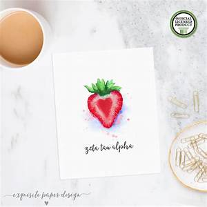 Zeta tau alpha zta watercolor strawberry wall art