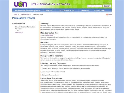Persuasive Poster Lesson Plan For 8th