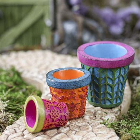 miniature colorful flower pots fairy garden miniatures