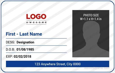 office id card templates ms word microsoft word