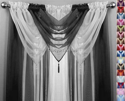 black white 6 swag voile panel curtain set