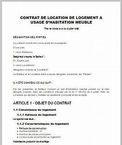 contrat de location meublee modele word et pdf pret a With exemple de contrat de location meuble