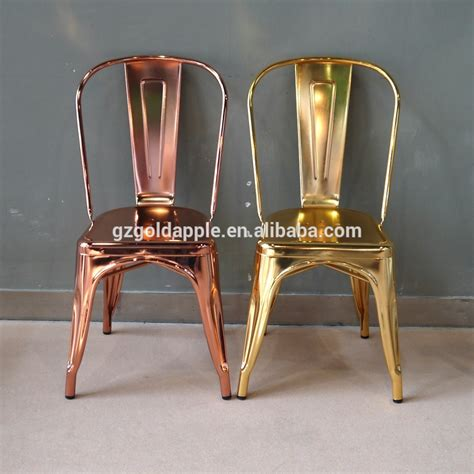 wholesale cheap steel industrial gold chair luxury metal