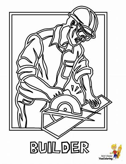 Coloring Construction Worker Pages Vehicle Builder Colouring