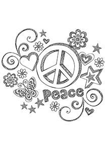 Simple and Attractive Free Printable Peace Sign Coloring Pages | Zentangles ~ Adult Colouring