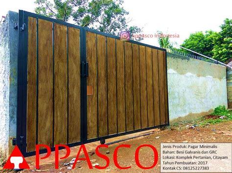 pagar besi minimalis motif kayu grc  komplek pertanian