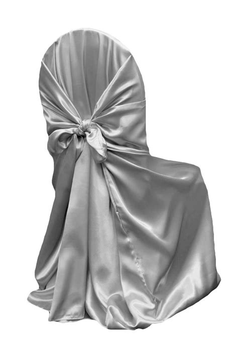 chair cover silver charcoal satin self tie linens and