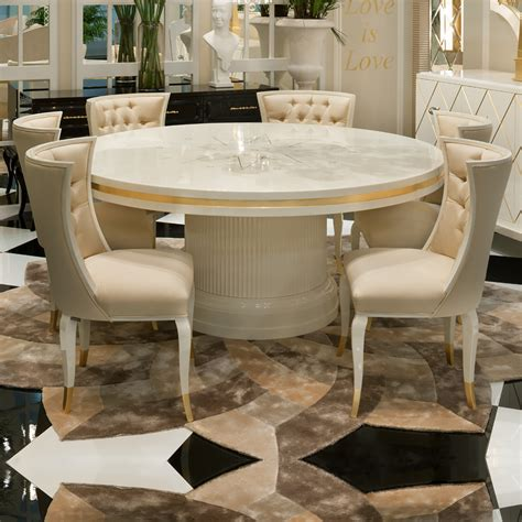 high round dining table high end modern ivory lacquered round dining table