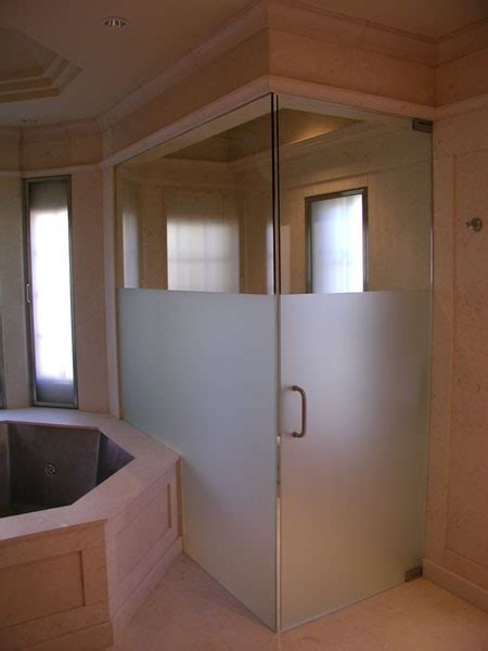 frosted  clear glass shower offers showering