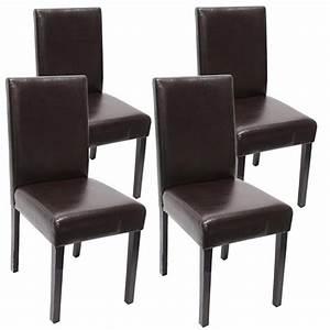 Chaise Salle A Manger Cuir : lot de 4 chaises de salle manger simili cuir marron pieds fonc s cds04139 d coshop26 ~ Teatrodelosmanantiales.com Idées de Décoration