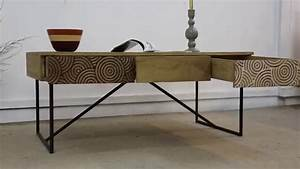 table basse bois metal a tiroirs youtube With table basse bois metal