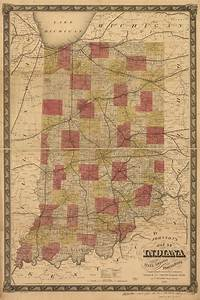 Johnson U0026 39 S Map Of Indiana Showing The Rail Roads And