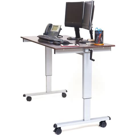 adjustable computer stand luxor standup cf60 dw 60 quot crank adjustable stand up desk