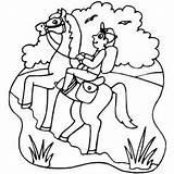 Horse Rider Walking Coloring Sheet sketch template